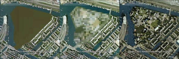 Marinecomplex Kattenburg. Censored by being cut out of the map in 2004, pixelated in 2005, and crystallized in 2005. (Click through for larger image.)